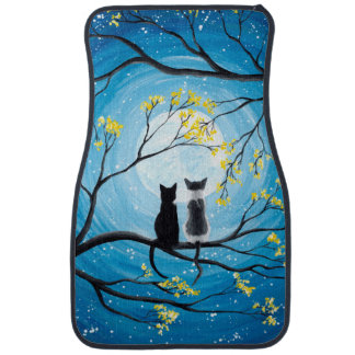 Whimsical Moon with Cats Car Mat