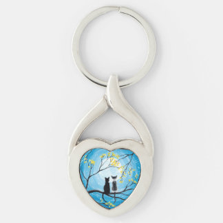 Whimsical Moon with Cats Keychain