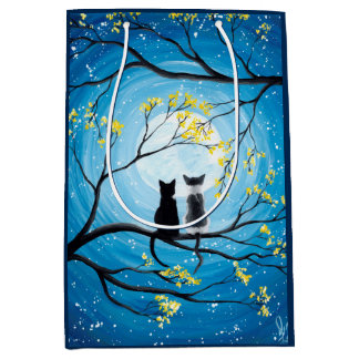 Whimsical Moon with Cats Medium Gift Bag