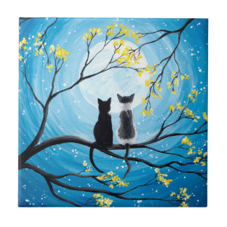 Whimsical Moon with Cats Tiles