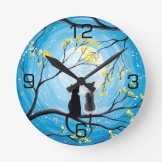 Whimsical Moon with Cats Wallclock