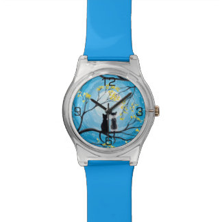 Whimsical Moon with Cats Watches