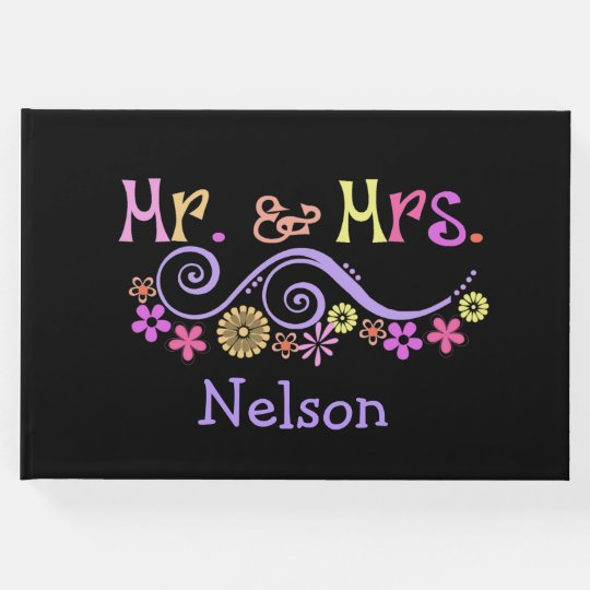 Whimsical Mr. and Mrs. Wedding Guest Book