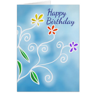 Whimsical Multi-Color Flowers Birthday Card