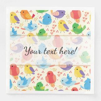 Whimsical Multicolor Birds Pattern Paper Napkins