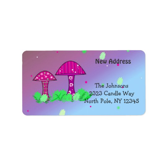 Whimsical Mushrooms New Address Label