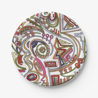 Whimsical Musical Colorful Abstract Paper Plate