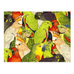 Whimsical Nature Green Parrots Birds Pattern