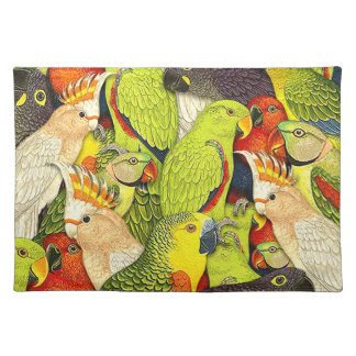 Whimsical Nature Green Parrots Birds Pattern Place Mats