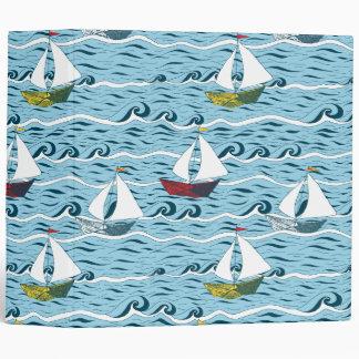 Whimsical newspaper boats vinyl binder