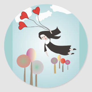 Whimsical Nun Art Gifts Classic Round Sticker