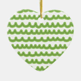 Whimsical Ocean Waves Green Ceramic Heart Ornament