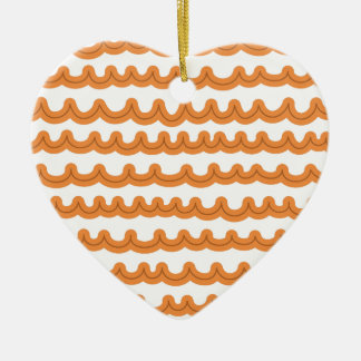 Whimsical Ocean Waves Melon Ceramic Heart Ornament