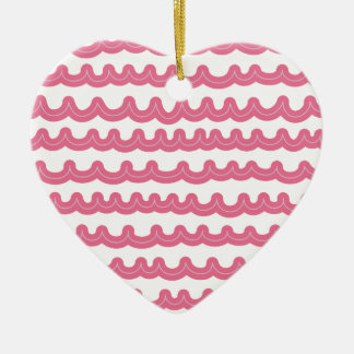 Whimsical Ocean Waves Pink Ceramic Heart Ornament