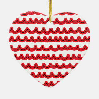 Whimsical Ocean Waves Red Ceramic Heart Ornament