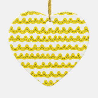 Whimsical Ocean Waves Yellow Ceramic Heart Ornament