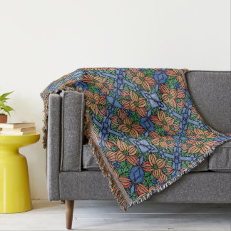 Whimsical Orange And Blue Floral Pattern Throw Blanket