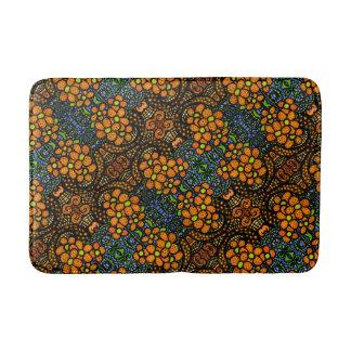 Whimsical Orange Floral Pattern Bath Mat