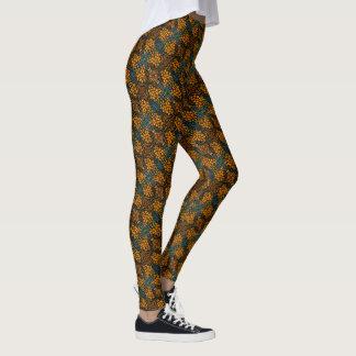 Whimsical Orange Floral Pattern Leggings