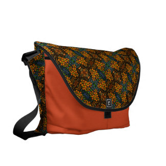 Whimsical Orange Floral Pattern Messenger Bag