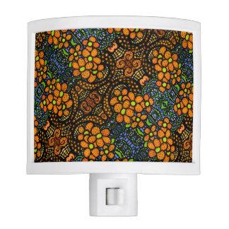 Whimsical Orange Floral Pattern Nite Light
