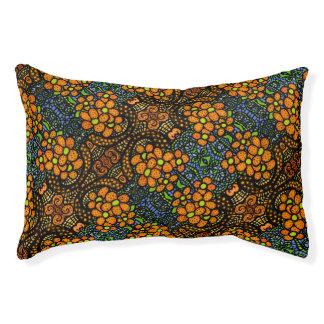 Whimsical Orange Floral Pattern Pet Bed