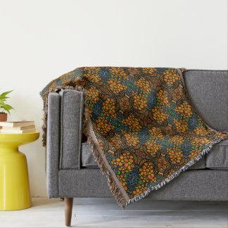 Whimsical Orange Floral Pattern Throw Blanket