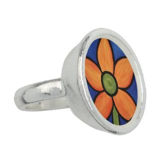 Whimsical Orange Flower Ring