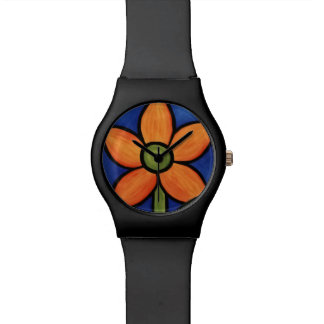 Whimsical Orange Flower Watch