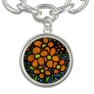 Whimsical Orange Flowers Bright Colors Bracelet