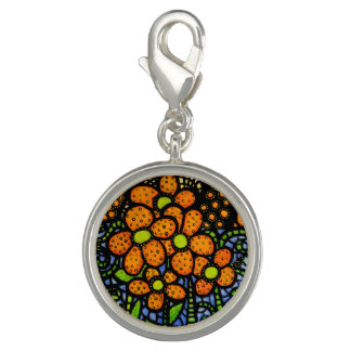 Whimsical Orange Flowers Bright Colors Charms