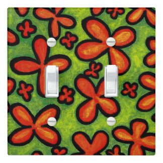 Whimsical Orange Flowers Green Grass Light Switch Cover