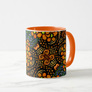 Whimsical  Orange Flowers Pattern Mug