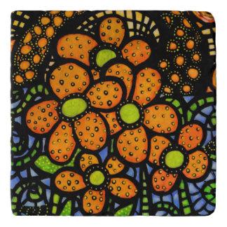 Whimsical Orange Flowers Trivet