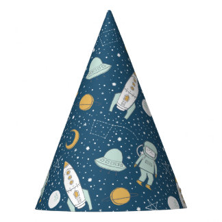Whimsical Outer Space Patterned Party Hats