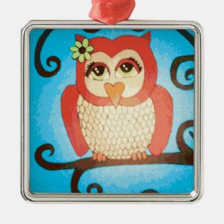 Whimsical Owl Avian Folk Art Silver-Colored Square Ornament