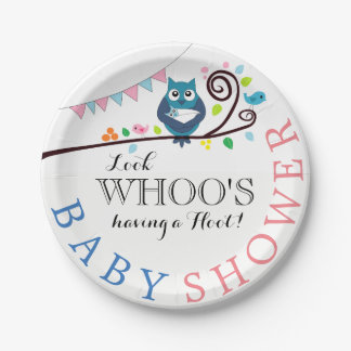 Whimsical Owl Baby Shower Paper Plate