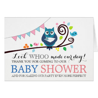 Whimsical Owl Baby Shower Thank You Card