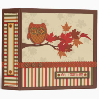 Whimsical Owl on Branch Thanksgiving Vinyl Binders