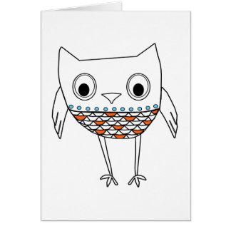 Whimsical Owl Orange Blue Black Woodland Creatures Card