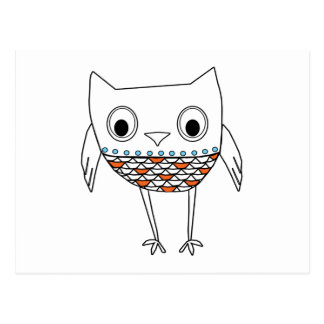 Whimsical Owl Orange Blue Black Woodland Creatures Postcard