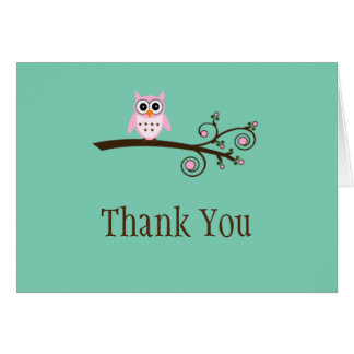 Whimsical Owl Thank you cards-Blank inside