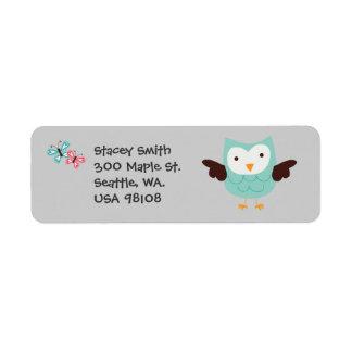 Whimsical Owls Customizable Return Address Label