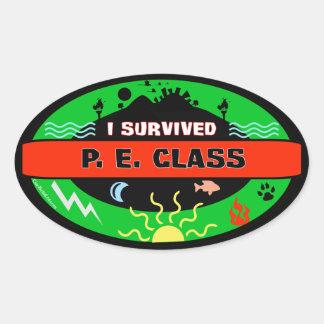 Whimsical P. E. Class Survivor Sticker