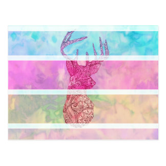 Whimsical Paisley Deer Head Summer Pastel Stripes Postcard