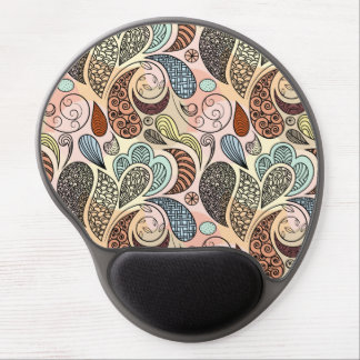 Whimsical Paisley Doodle Scribble Watercolor Gel Mouse Pad