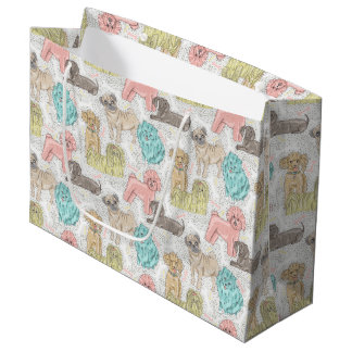Whimsical Pastel Dog Pattern by WhimsicalArtwork™ Large Gift Bag