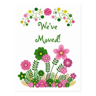 "Whimsical Pastel Floral ""We've Moved"" Postcard"