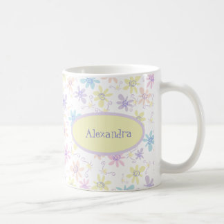 Whimsical Pastel Flowers Coffee Mug