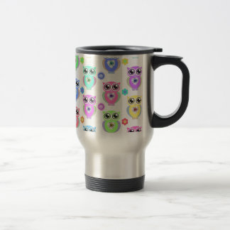 Whimsical Pastel Owls Love Heart Floral pattern Travel Mug